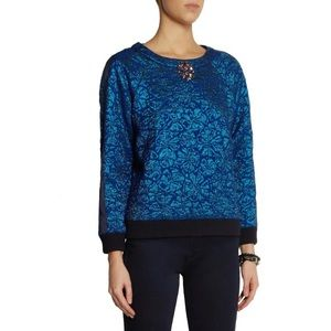 J.Crew Delphinium Floral Jacquard Jewel Sweater